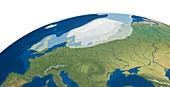 European Upper Palaeolithic glaciation, illustration