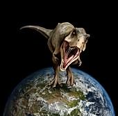 Tyrannosaurus dinosaur on Earth globe, illustration