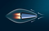 Supercavitating rocket-powered vehicle, illustration