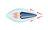 Supercavitating rocket-powered vehicle, illustration
