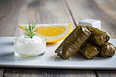 Greek dolmades with a yoghurt dip