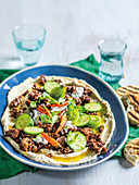 North african mince and hummus with lamb mince