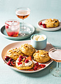 Mixed berry and almond cream scones
