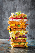 Stack of sandwiches and cheesy toasties