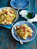 Spaghettini mit Calamari und Chilis