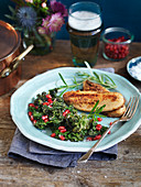 Filet of quorn with kale and pomegranate