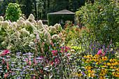 Bauerngarten mit Sonnenhut und Hortensie