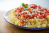 Fusilli with tomatoe sauce and parmesan