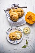 Pumpkin buns with vegan herb butter