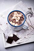 Hot vegan almond milk chocolate with marshmallows