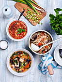 Three vegeterian vegetable soups with mushrooms, beans and tomatoes