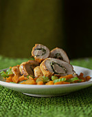 Stuffed turkey roulade with vegetables