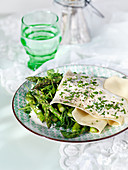 Open lasagne with green asparagus