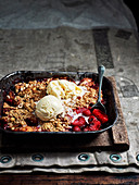 Apple, Beetroot and Raspberry Crumble