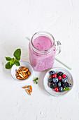 Berry and cinnamon milkshake