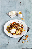 Lentil salad with goat's cheese and nuts