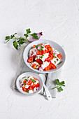Tomato salad with grainy cream cheese
