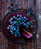 Blueberry pie with iced berries