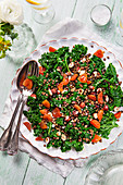 Kale salad with lentils, dried figs and hazelnuts
