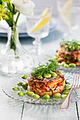 Potato tarts with edamame and dill