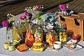 Verschiedene Getränke und Snacks fürs sommerliche Picknick am See