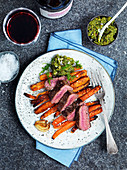 Roasted lamb with carrots and pesto