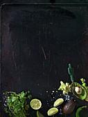 Green ingredients texmex, coriander, lime, avocado and salt