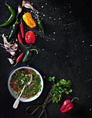Texmex salsa ingredients - chilli, coriander, garlic, oil