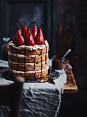 Pear and juniper berry cake