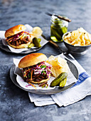 Spicy Barbecue Goat Sliders with slaw