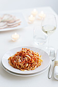 Taglierini with meat and tomato sauce (egg noodles from Piedmont, Italy)