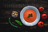 Homemade typical Spanish gazpacho from above