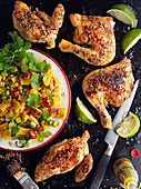 Grilled chicken with roasted corn salad