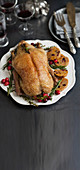 Festive roast duck with amaretti bread and dried fruit filling