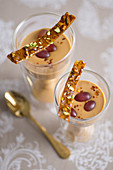 Caramel cream with grapes, chilli and pistachio brittle