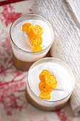 Coffee cream with cream and candied kumquats