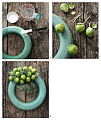 Instructions for making a wreath of Brussels sprouts and cypress branches