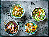 Grain varieties - Fruig and nut Freekeh, Quinoa Bowl, Mixed grain, Spiced paneer and pea rice