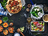 Baked sweet potatoes, Pie with vegetable and sausage, Sauteed leek, Green salad with vegetable