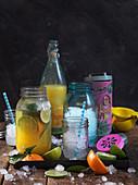 Iced texmex lemonade with lime and orange