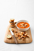 Tomato cream soup with cheese croutons