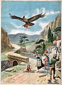 Child rapt by an eagle, illustration