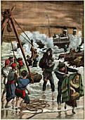 Sinking of a boat in Turkey, illustration