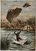 German parachutist in World War I, illustration