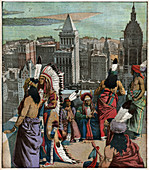 Black feet native americans in New York, illustration