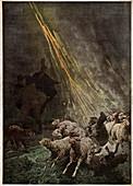 Sheep struck by lightning, illustration