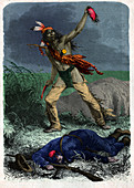 Indian scalps a soldier, illustration