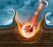 Asteroid impact event, illustration