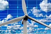 Wind turbine and solar panels, illustration