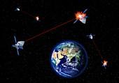 Orbital space weapons, illustration